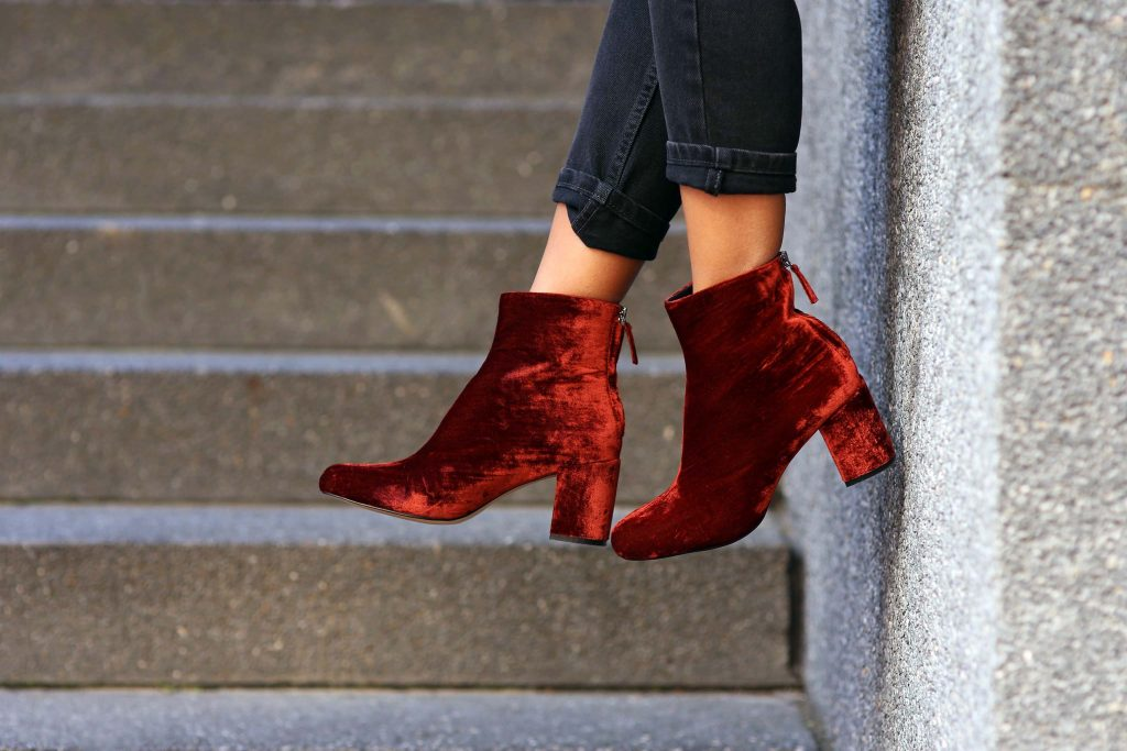 Make A Statement - Red Velvet Boots